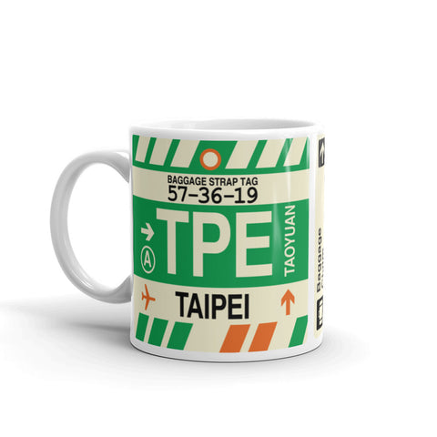 YHM Designs - TPE Taipei, Taiwan Airport Code Coffee Mug - Birthday Gift, Christmas Gift - Left