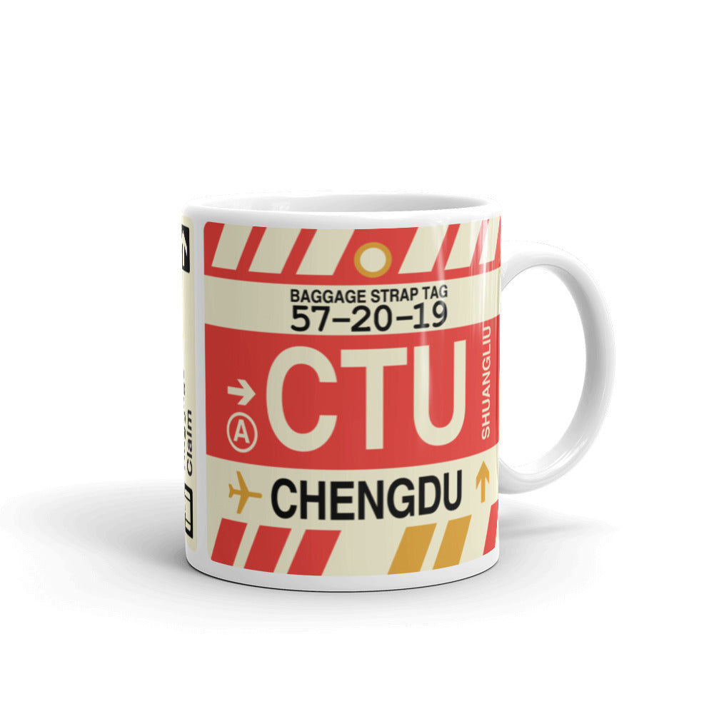YHM Designs - CTU Chengdu, China Airport Code Coffee Mug - Graduation Gift, Housewarming Gift - Right