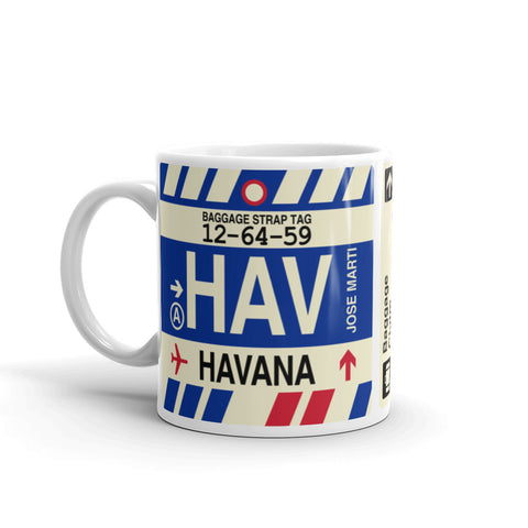YHM Designs - HAV Havana, Cuba Airport Code Coffee Mug - Birthday Gift, Christmas Gift - Left