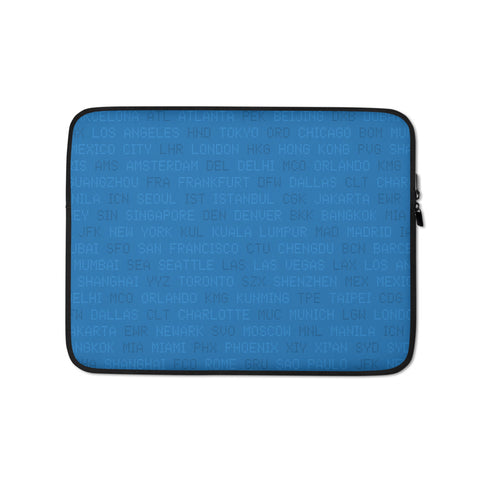 YHM Designs - World Airport Codes Laptop Sleeve • Blue 1