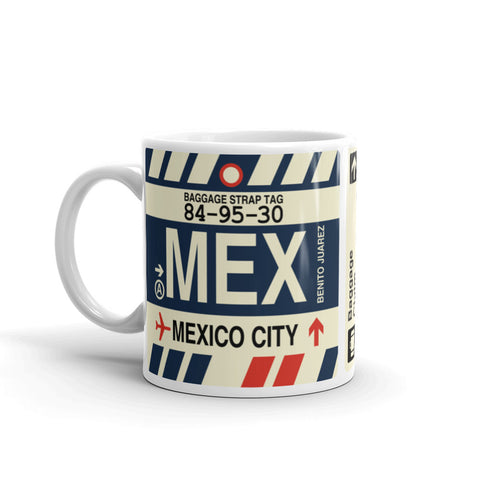YHM Designs - MEX Mexico City, Mexico Airport Code Coffee Mug - Birthday Gift, Christmas Gift - Left