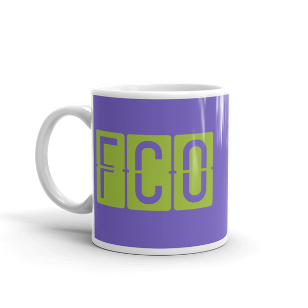 YHM Designs - FCO Rome Airport Code Split-Flap Display Coffee Mug - Birthday Gift, Christmas Gift - Green and Purple - Left