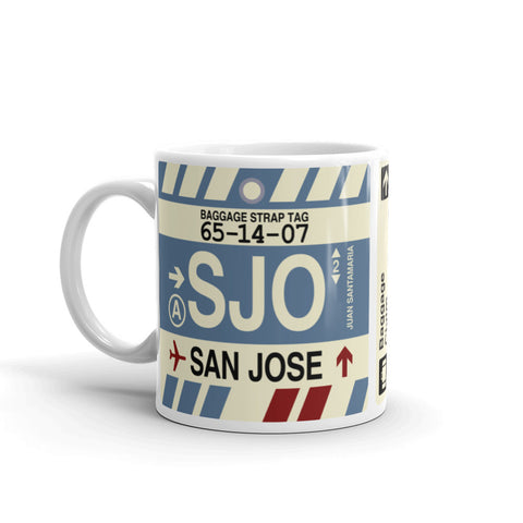 YHM Designs - SJO San Jose, Costa Rica Airport Code Coffee Mug - Birthday Gift, Christmas Gift - Left