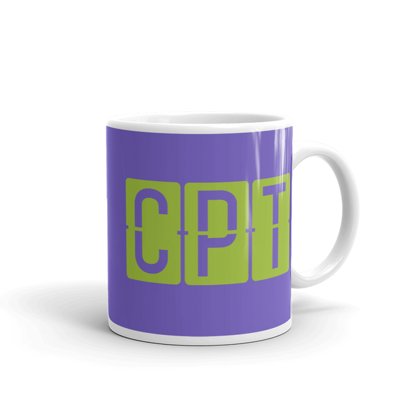YHM Designs - CPT Cape Town Airport Code Split-Flap Display Coffee Mug - Graduation Gift, Housewarming Gift - Green and Purple - Right