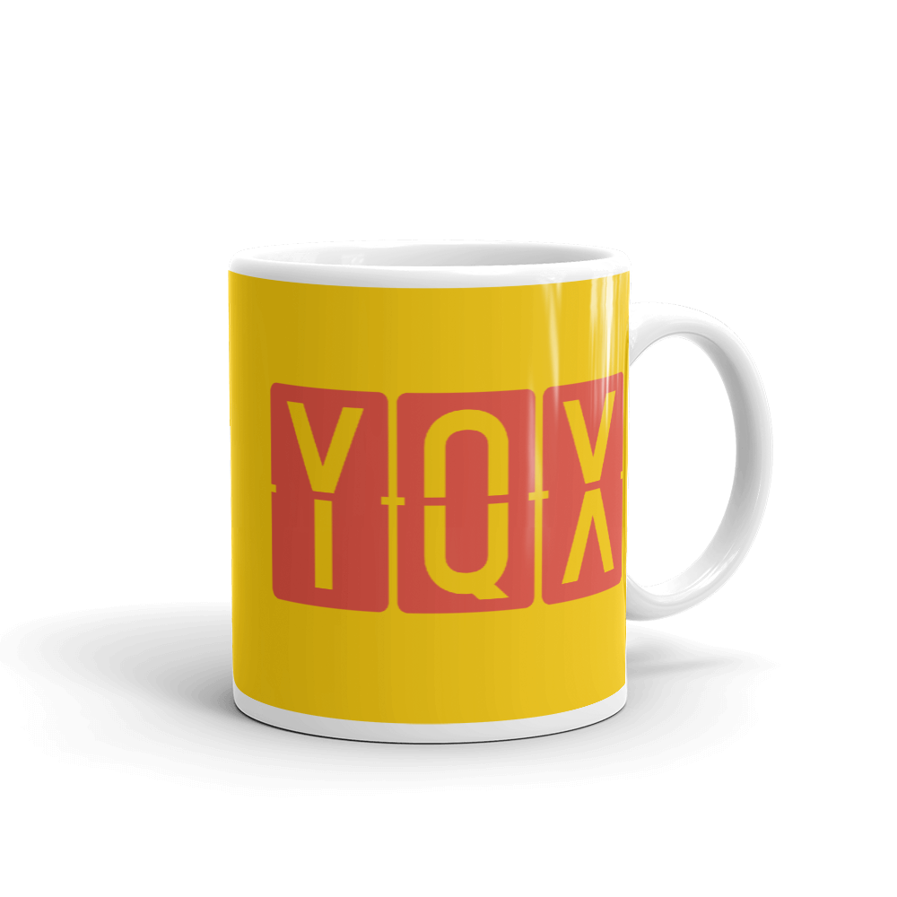 YHM Designs - YQX Gander, Newfoundland and Labrador Airport Code Coffee Mug - Graduation Gift, Housewarming Gift - Red and Yellow - Right