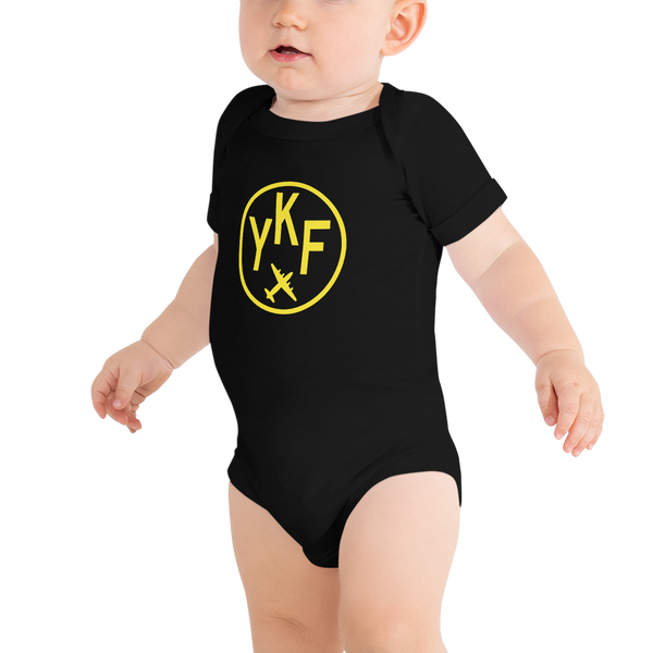YHM Designs - YKF Waterloo Airport Code Onesie Bodysuit - Baby Infant - Boy's or Girl's Gift