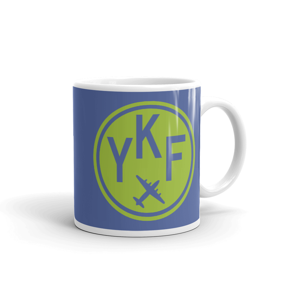 YHM Designs - YKF Waterloo Airport Code Vintage Roundel Coffee Mug - Graduation Gift, Housewarming Gift - Green and Blue - Right