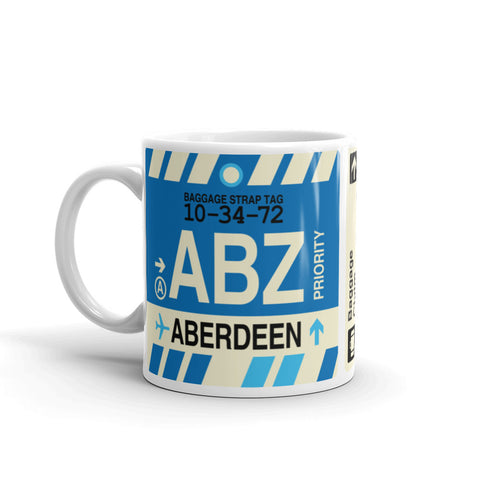 YHM Designs - ABZ Aberdeen, Scotland (UK) Airport Code Coffee Mug - Birthday Gift, Christmas Gift - Left