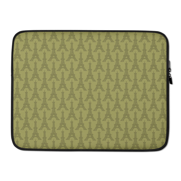 YHM Designs - Eiffel Tower Laptop Sleeve • Light Moss Green 3