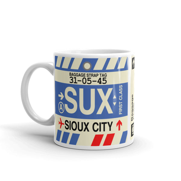 YHM Designs - SUX Sioux City, Iowa Airport Code Coffee Mug - Birthday Gift, Christmas Gift - Left