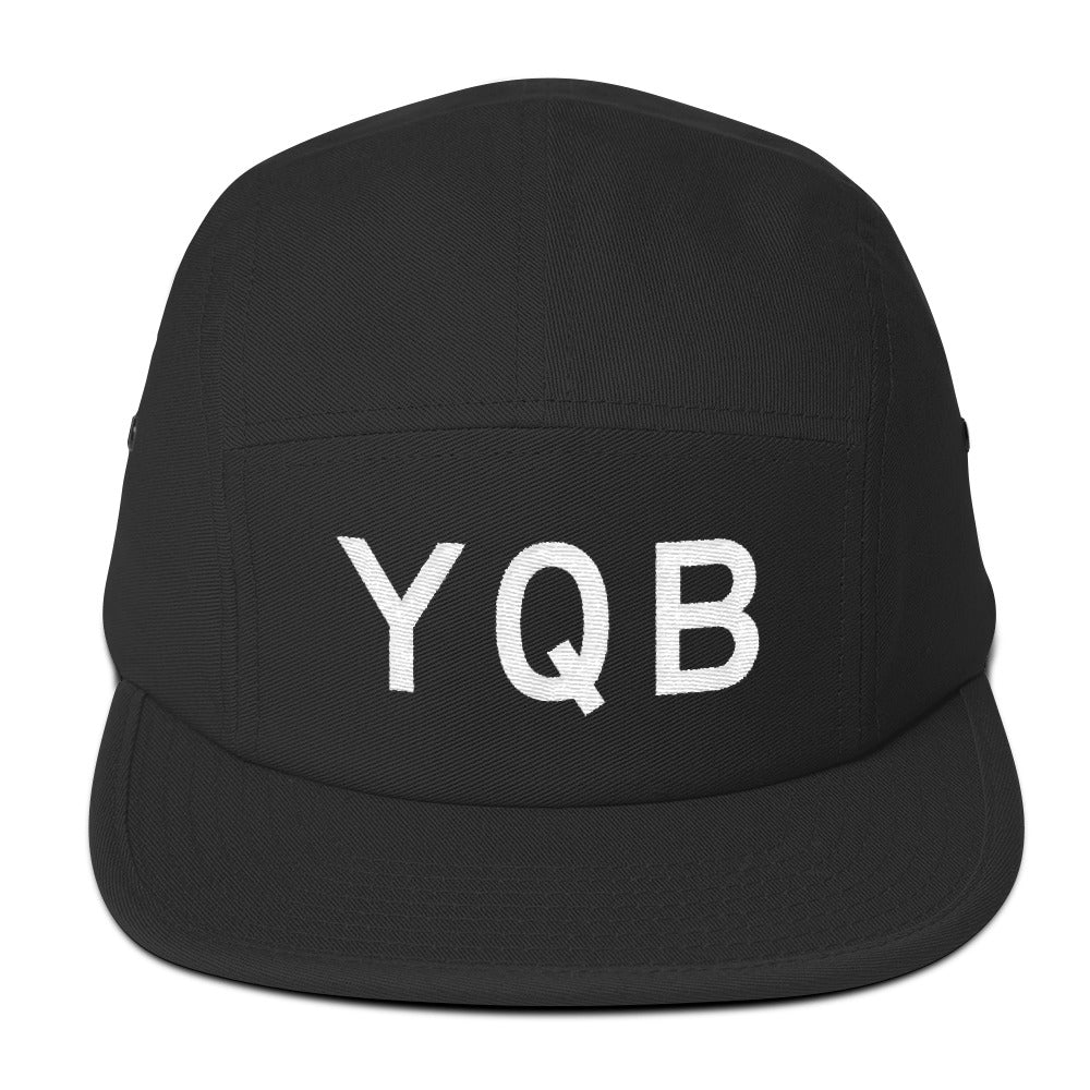 YHM Designs - YQB Quebec City Airport Code Camper Hat - Black - Front - Student Gift