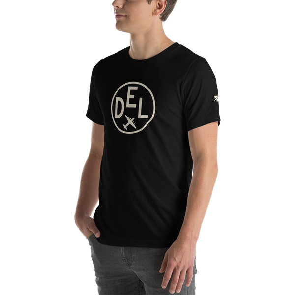 YHM Designs - DEL Delhi Airport Code T-Shirt - Adult - Black - Gift for Dad or Husband