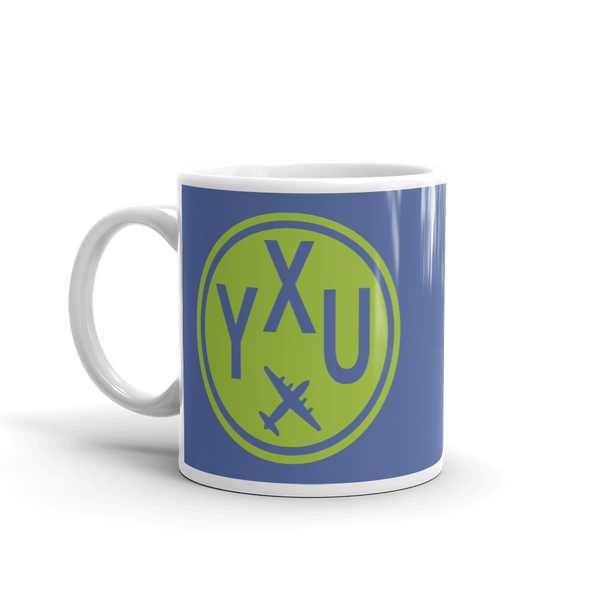 YHM Designs - YXU London Airport Code Vintage Roundel Coffee Mug - Birthday Gift, Christmas Gift - Green and Blue - Left