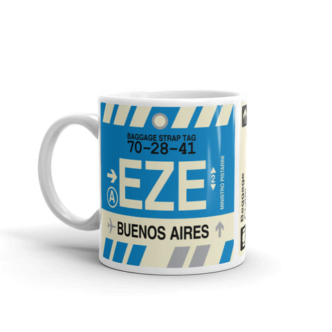 YHM Designs - EZE Buenos Aires, Argentina Airport Code Coffee Mug - Birthday Gift, Christmas Gift - Left