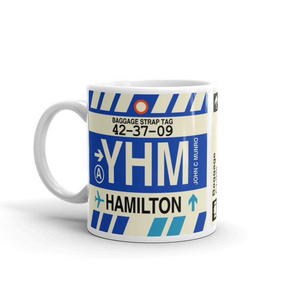 YHM Designs - YHM Hamilton, Ontario Airport Code Coffee Mug - Birthday Gift, Christmas Gift - Left