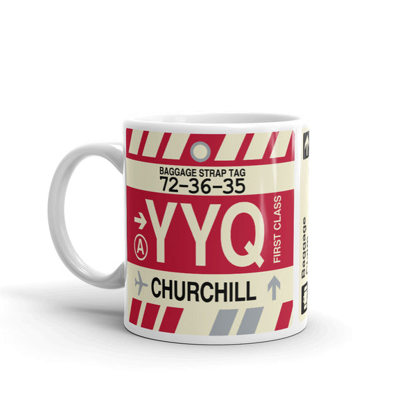 YHM Designs - YYQ Churchill Airport Code Coffee Mug - Birthday Gift, Christmas Gift - Left