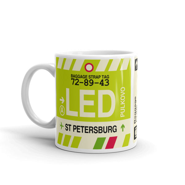 YHM Designs - LED Saint Petersburg, Russia Airport Code Coffee Mug - Birthday Gift, Christmas Gift - Left