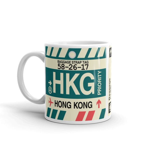 YHM Designs - HKG Hong Kong Airport Code Coffee Mug - Birthday Gift, Christmas Gift - Left