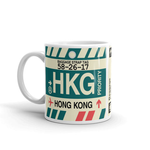 YHM Designs - HKG Hong Kong,  Airport Code Coffee Mug - Birthday Gift, Christmas Gift - Left