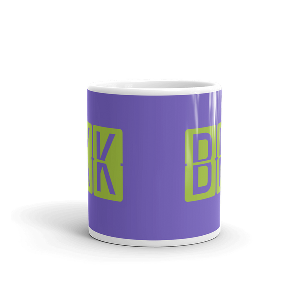 YHM Designs - BKK Bangkok Airport Code Split-Flap Display Coffee Mug - Teacher Gift, Airbnb Decor - Green and Purple - Side