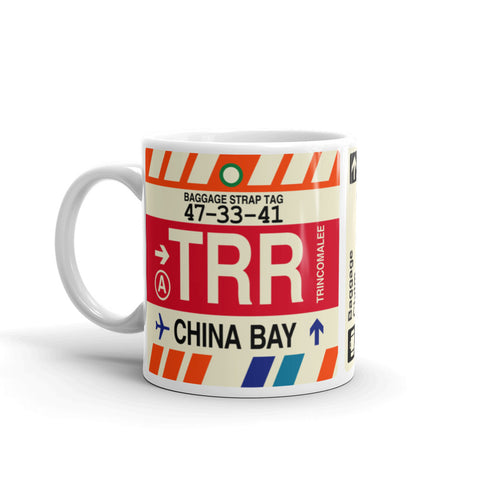 YHM Designs - TRR China Bay, Sri Lanka Airport Code Coffee Mug - Birthday Gift, Christmas Gift - Left