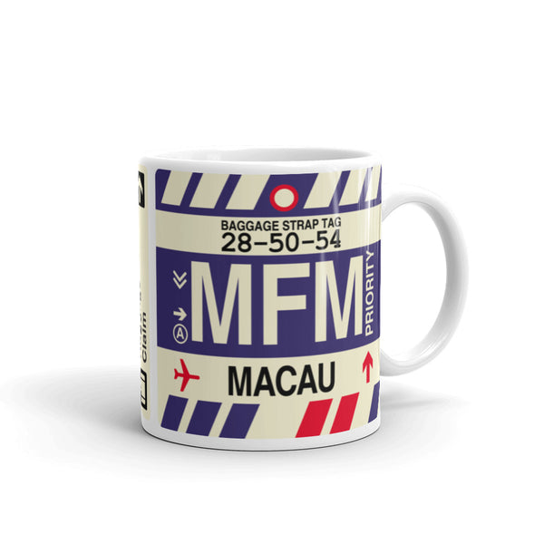 YHM Designs - MFM Macau Airport Code Coffee Mug - Graduation Gift, Housewarming Gift - Right