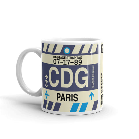 YHM Designs - CDG Paris, France Airport Code Coffee Mug - Birthday Gift, Christmas Gift - Left