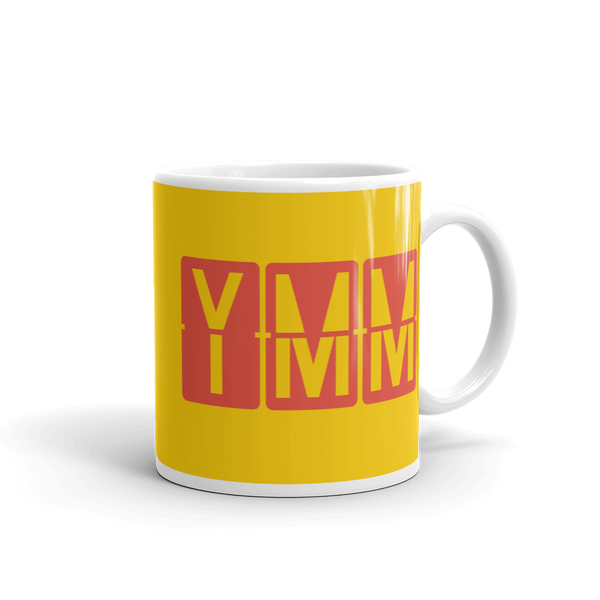 YHM Designs - YMM Fort McMurray, Alberta Airport Code Coffee Mug - Graduation Gift, Housewarming Gift - Red and Yellow - Right
