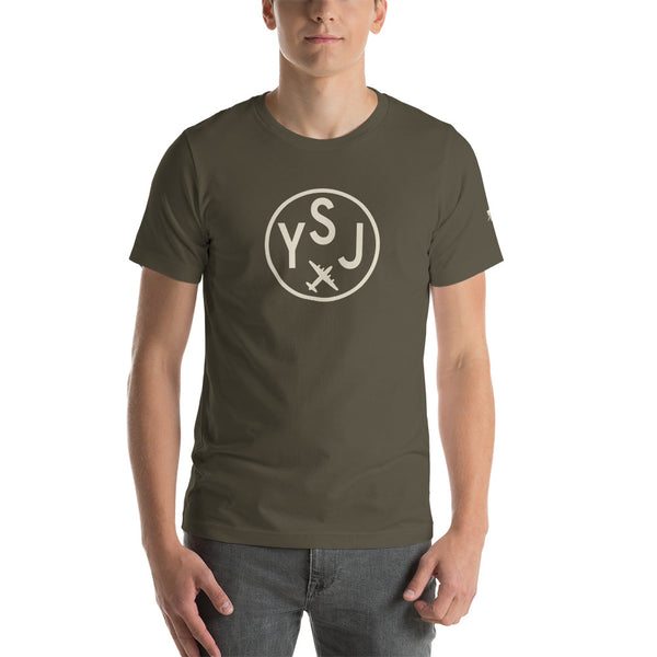 YHM Designs - YSJ Saint John Airport Code T-Shirt - Adult - Army Brown - Birthday Gift