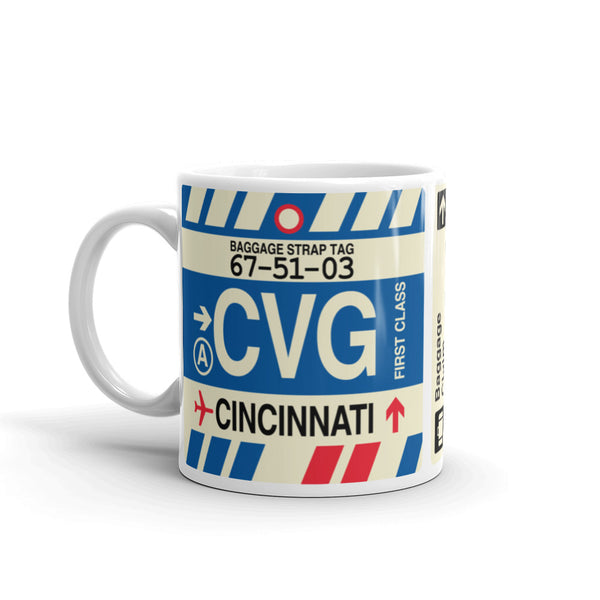 YHM Designs - CVG Cincinnati Airport Code Coffee Mug - Travel Theme Drinkware and Gift Ideas - Left