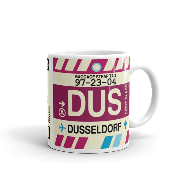 YHM Designs - DUS Dusseldorf, Germany Airport Code Coffee Mug - Graduation Gift, Housewarming Gift - Right
