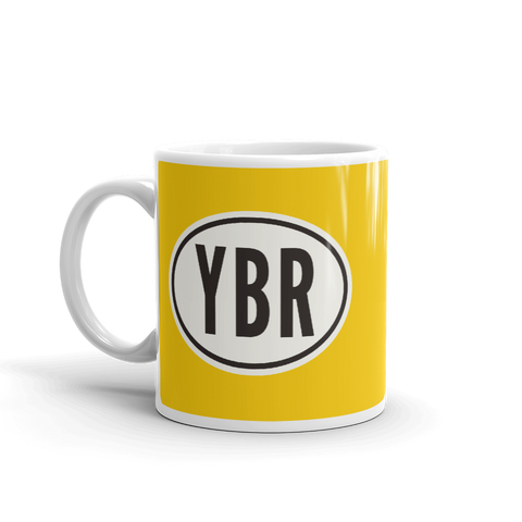 YHM Designs - YBR Brandon Airport Code Coffee Mug with Oval Car Sticker Design - Handle on Left