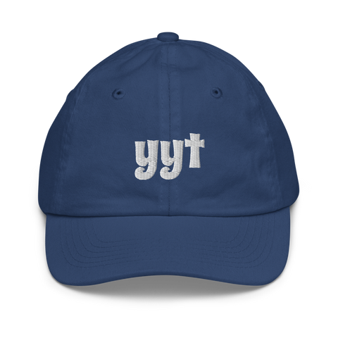 YHM Designs - YYT St. John's Airport Code Baseball Cap - Youth/Kids - Blue