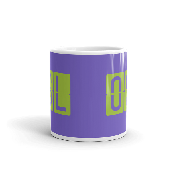 YHM Designs - OSL Oslo Airport Code Split-Flap Display Coffee Mug - Teacher Gift, Airbnb Decor - Green and Purple - Side