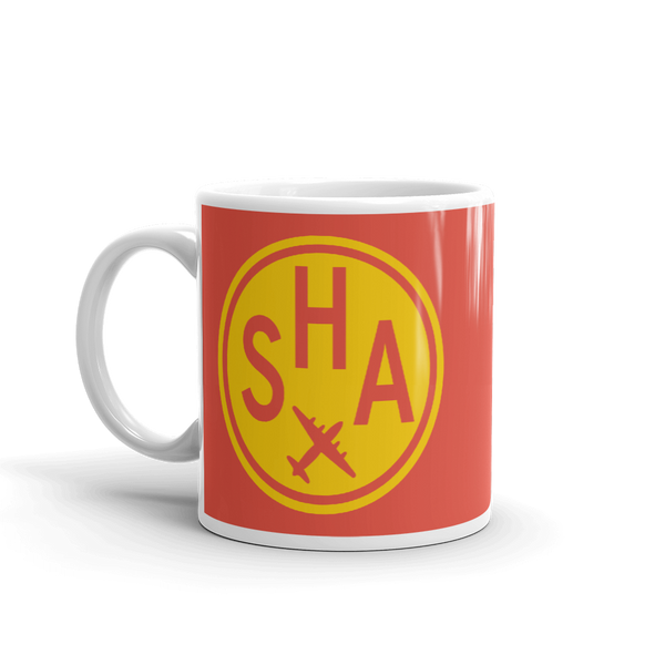 YHM Designs - SHA Shanghai Airport Code Vintage Roundel Coffee Mug - Birthday Gift, Christmas Gift - Yellow and Red - Left