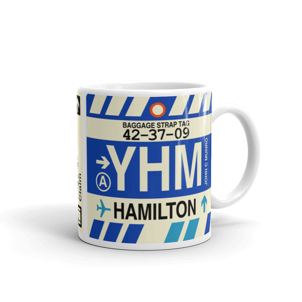 YHM Designs - YHM Hamilton, Ontario Airport Code Coffee Mug - Graduation Gift, Housewarming Gift - Right
