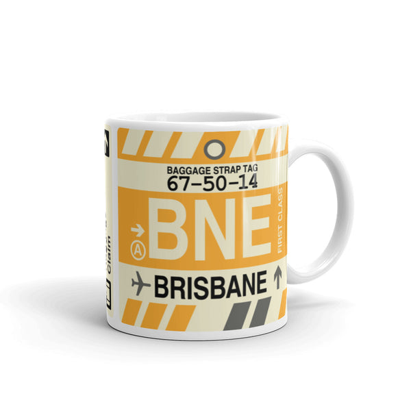 YHM Designs - BNE Brisbane, Australia Airport Code Coffee Mug - Graduation Gift, Housewarming Gift - Right