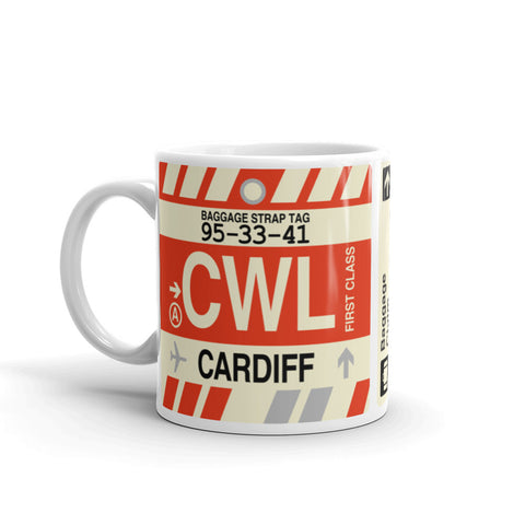 YHM Designs - CWL Cardiff, Wales (UK) Airport Code Coffee Mug - Birthday Gift, Christmas Gift - Left