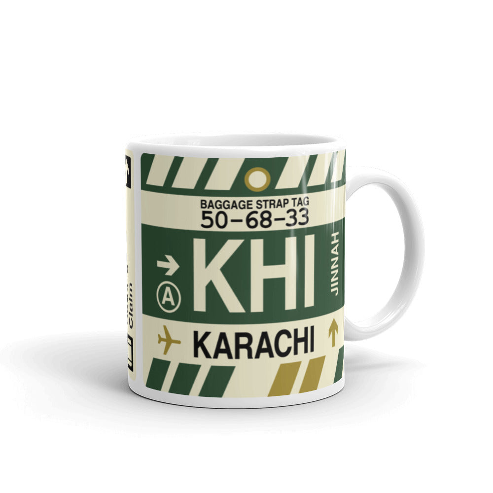 YHM Designs - KHI Karachi Airport Code Coffee Mug - Travel Theme Drinkware and Gift Ideas - Right
