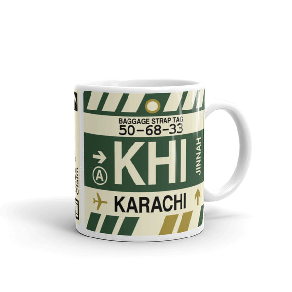 YHM Designs - KHI Karachi Airport Code Coffee Mug - Graduation Gift, Housewarming Gift - Right