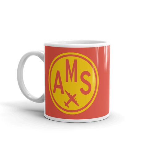 YHM Designs - AMS Amsterdam Airport Code Vintage Roundel Coffee Mug - Birthday Gift, Christmas Gift - Yellow and Red - Left