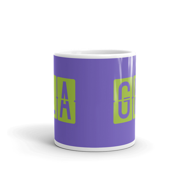 YHM Designs - GLA Glasgow Airport Code Split-Flap Display Coffee Mug - Teacher Gift, Airbnb Decor - Green and Purple - Side