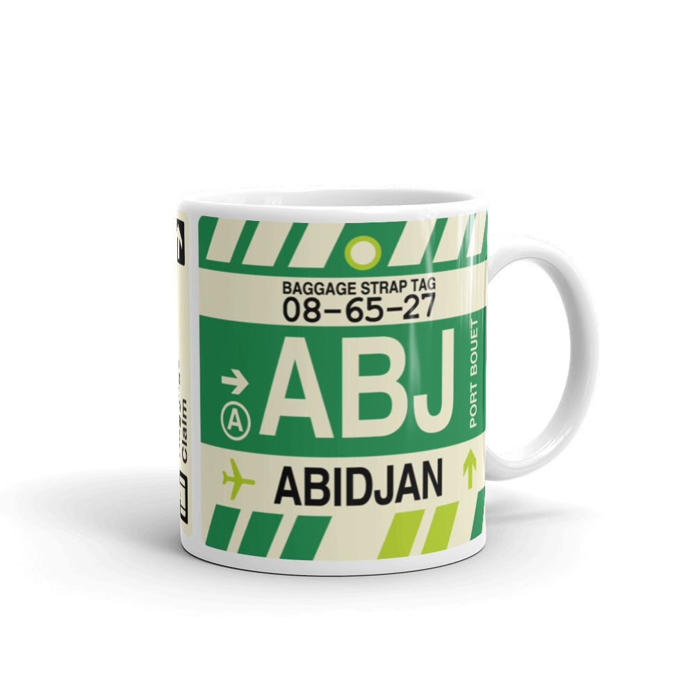 YHM Designs - ABJ Abidjan Airport Code Coffee Mug - Travel Theme Drinkware and Gift Ideas - Right