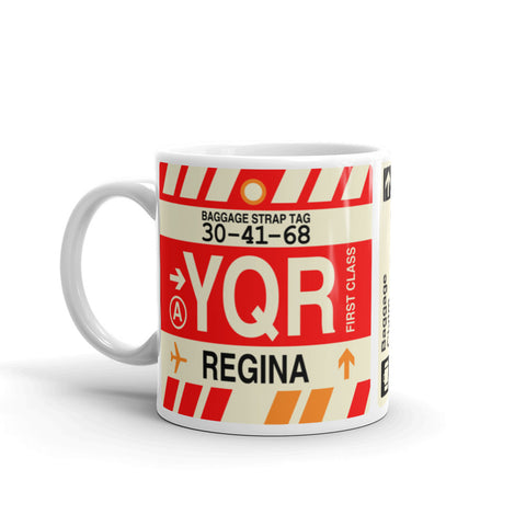 YHM Designs - YQR Regina Airport Code Coffee Mug - Birthday Gift, Christmas Gift - Left