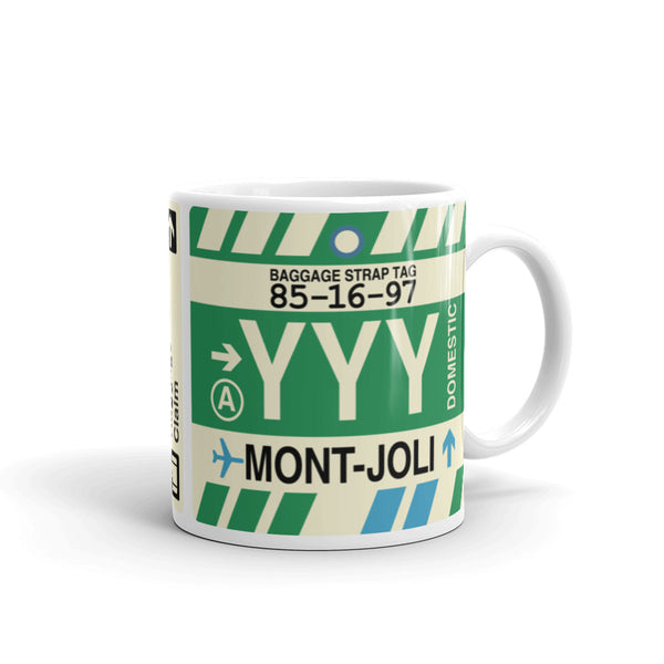 YHM Designs - YYY Mont-Joli Airport Code Coffee Mug - Graduation Gift, Housewarming Gift - Right