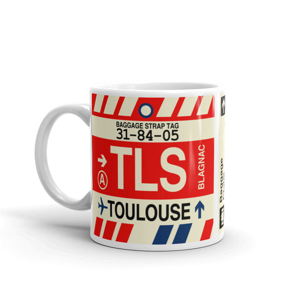 YHM Designs - TLS Toulouse Airport Code Coffee Mug - Travel Theme Drinkware and Gift Ideas - Left