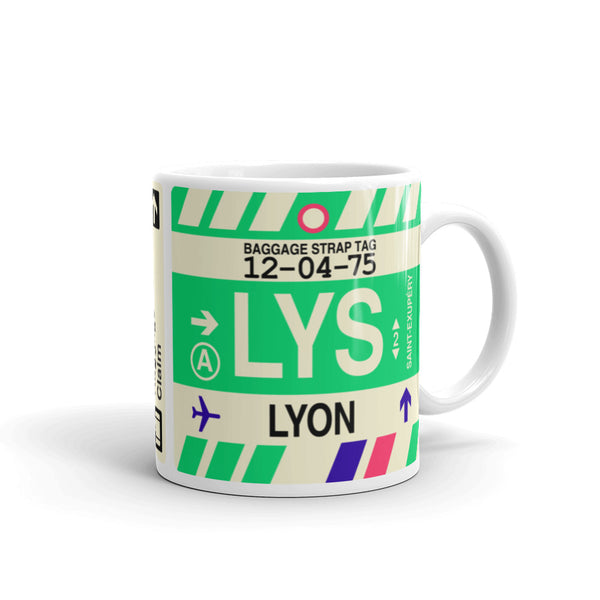 YHM Designs - LYS Lyon Airport Code Coffee Mug - Graduation Gift, Housewarming Gift - Right