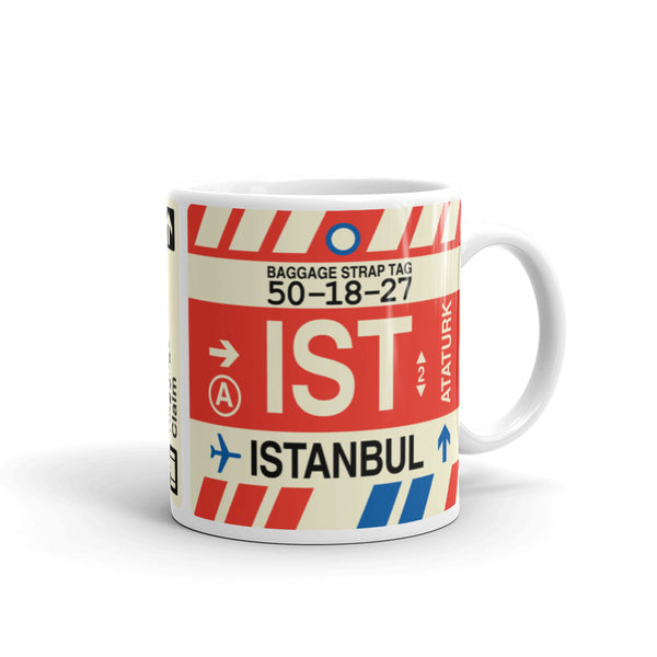 YHM Designs - IST Istanbul Airport Code Coffee Mug - Travel Theme Drinkware and Gift Ideas - Right