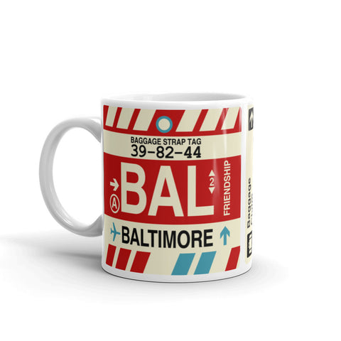 YHM Designs - BAL Baltimore Airport Code Coffee Mug - Birthday Gift, Christmas Gift - Left