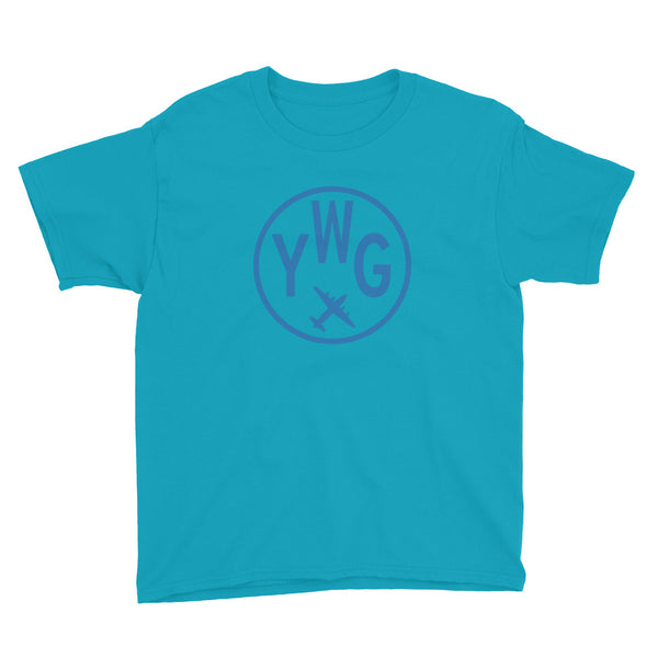 YHM Designs - YWG Winnipeg T-Shirt - Airport Code and Vintage Roundel Design - Child Youth - Caribbean blue - Gift for Kids